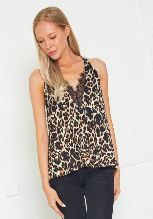 Tansy Leopard Lace Trim Cami Blouse