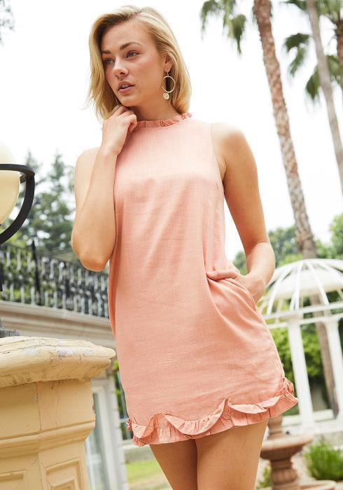Tansy Ruffle Hem Sleeveless Mini Dress