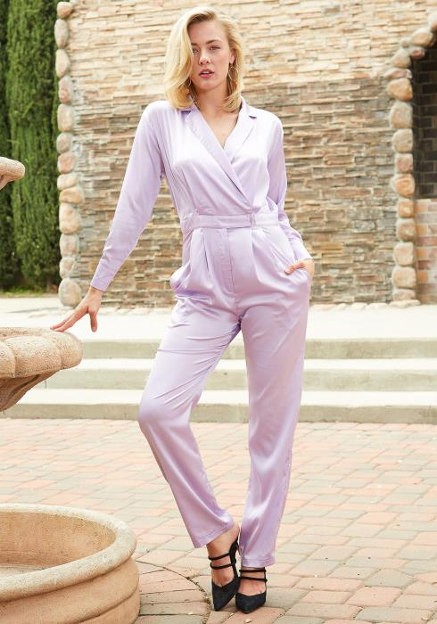 Tansy Satin Collared Jumpsuit