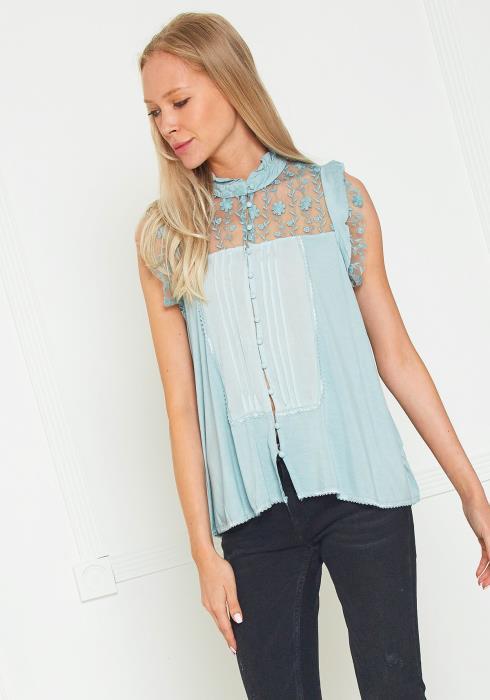 Tansy Lace Trim Button Down Blouse