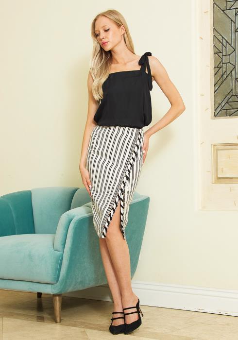 Tansy Striped Slit Midi Skirt