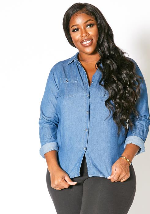 Asoph Plus Size Denim Collared Womens Button Up Top