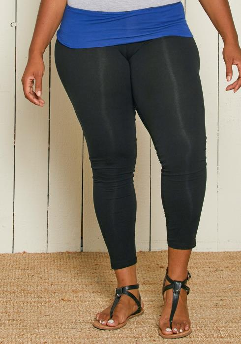 Asoph Plus Size Folding Waist Band Leggings