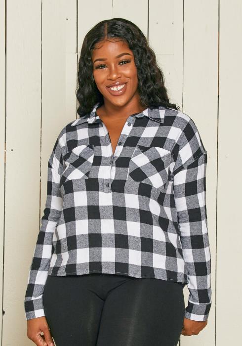 Asoph Plus Size Plaid Shirt