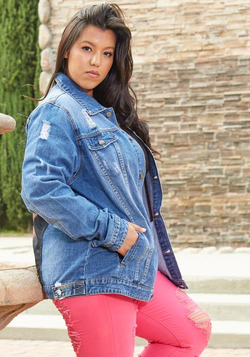 Asoph Plus Size Patched Back Denim Jacket