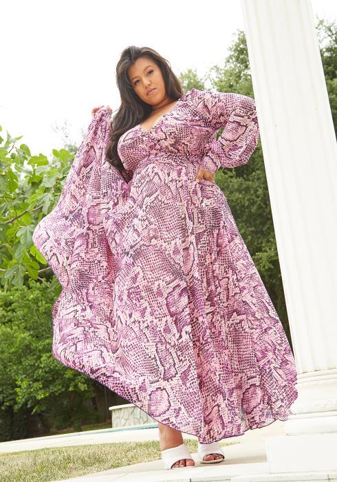 Asoph Plus Size Snake Print Chiffon Maxi Dress