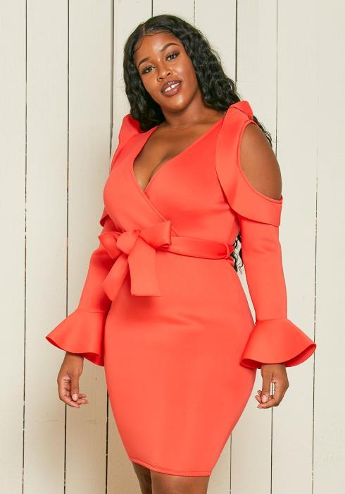 Asoph Plus Size Open Shoulder Party Dress