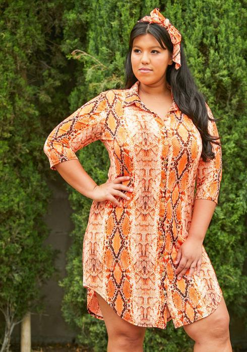 Asoph Plus Size Neon Snake Print Dress