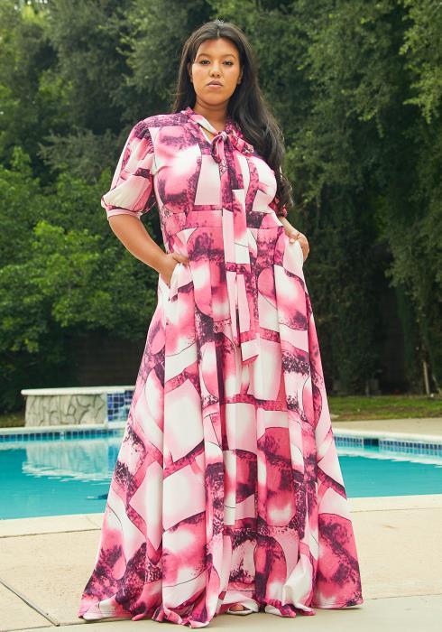 Asoph Plus Size Tie Neck Maxi Dress