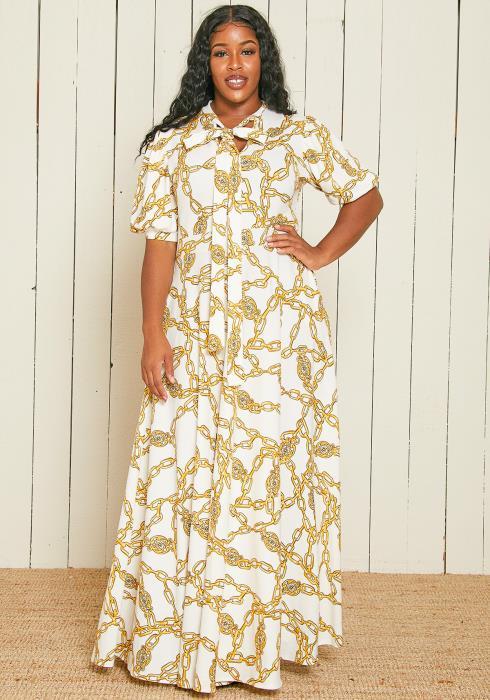 Asoph Plus Size Chain Print Maxi Dress