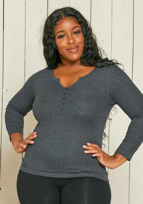 Asoph Plus Size Ribbed Top