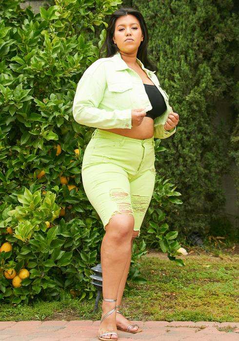 Asoph Plus Size Ripped Denim Shorts