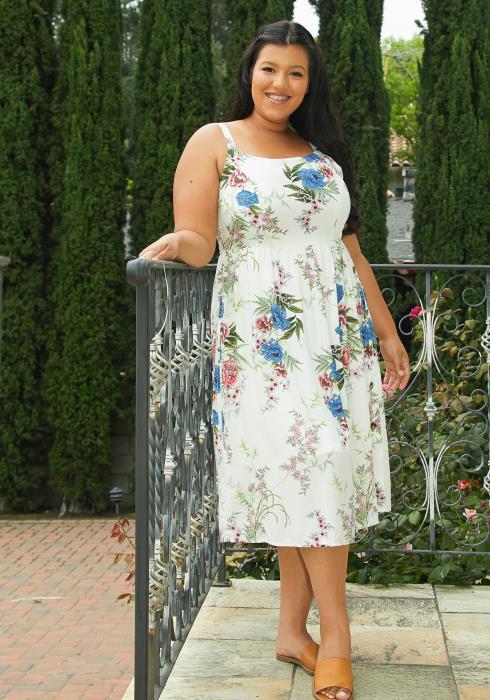 Asoph Plus Size Floral Sun Dress