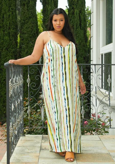 Asoph Plus Size Tie Dye Stripe Print Maxi Dress