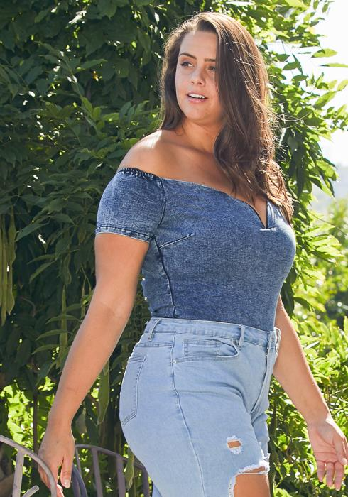 Asoph Plus Size Pick Me Up Denim Bodysuit
