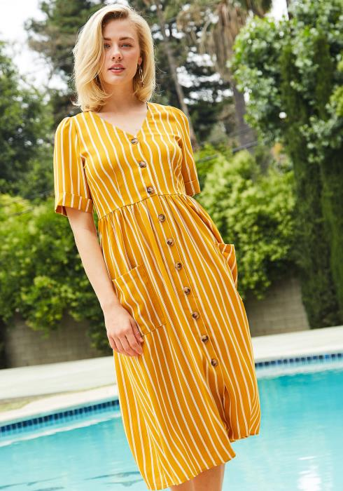 Tansy V-Neck Button Down Midi Dress