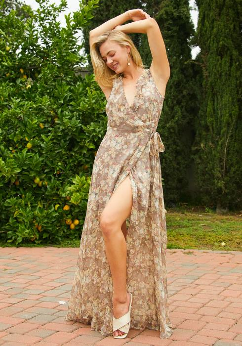 Tansy Floral Sleeveless Chiffon Maxi Dress