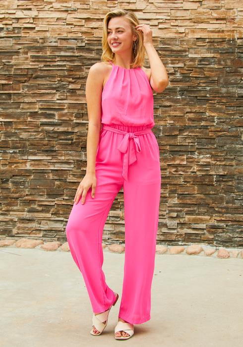 Tansy Neon Pink Halter Neck Jumpsuit