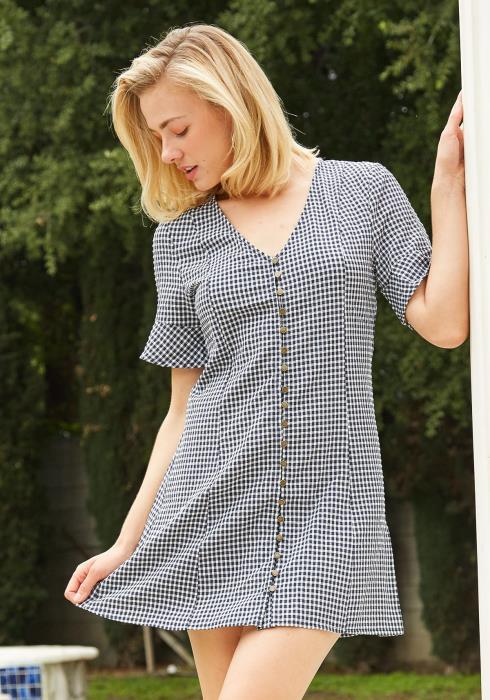 Tansy Grid Print Mini Dress