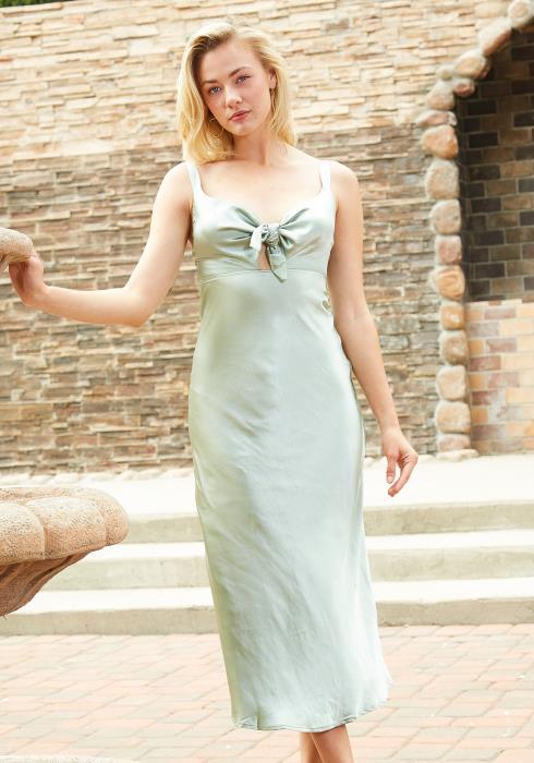 Tansy Tie Front Silky Midi Dress