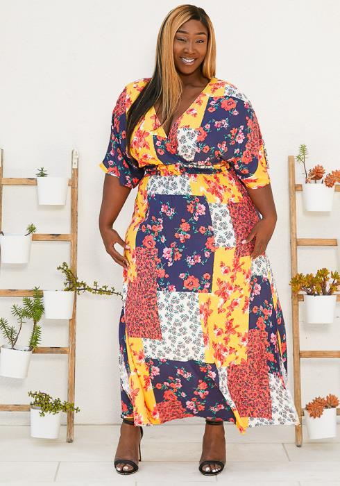 Asoph Plus Size Print Patch Maxi Dress