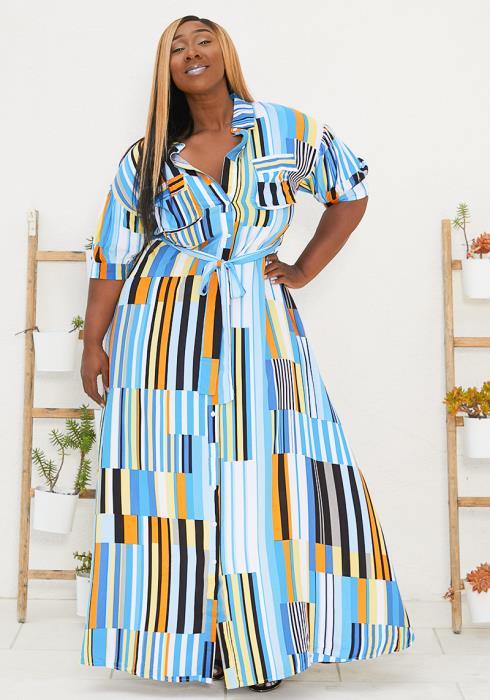Asoph Plus Size Mosaic Maxi Dress