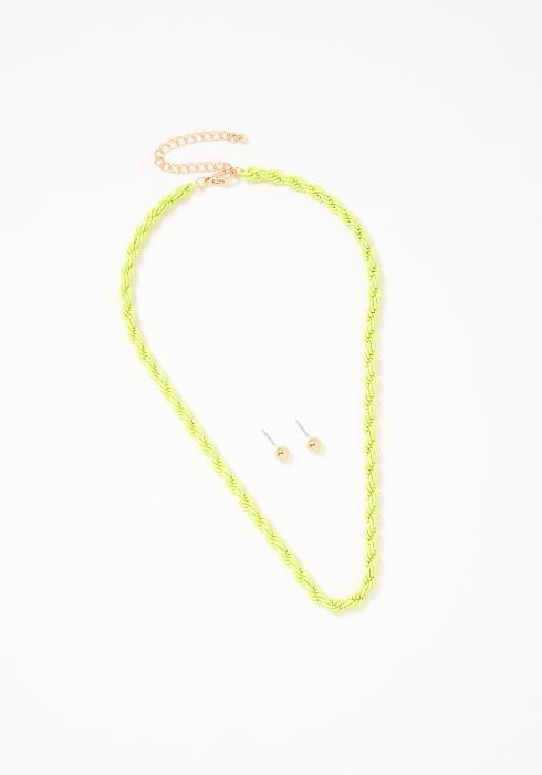 Angela Neon Necklace Earring Set