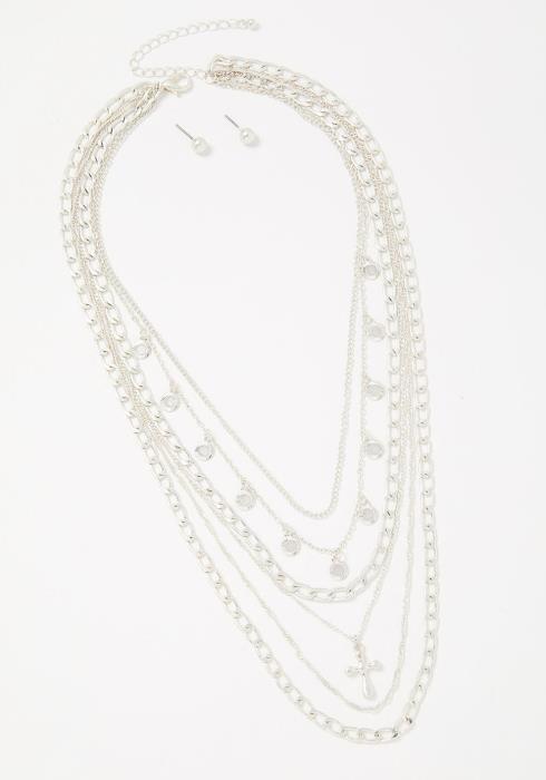 Freya Layered Necklace Earring Set