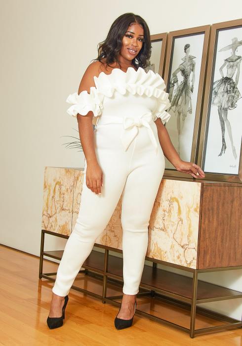 Asoph Plus Size Ruffle Party Jumpsuit