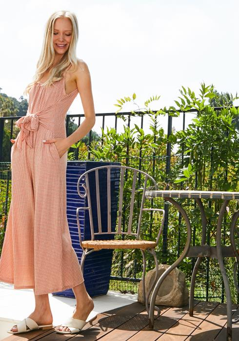 Tansy Sleeveless Tie Front Jumpsuit
