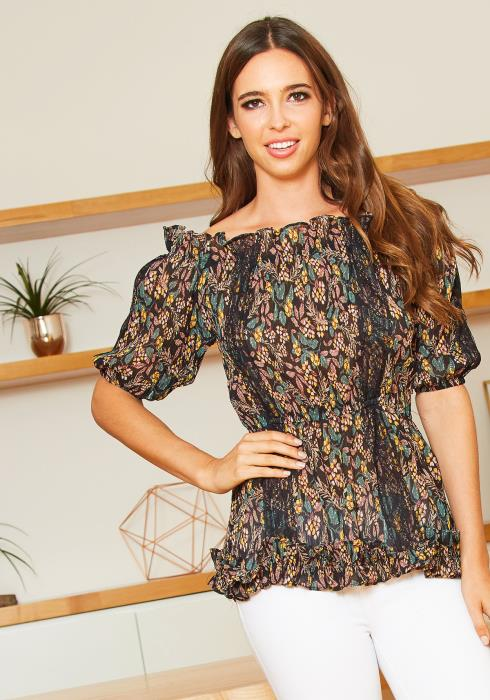 Tansy Womens Off Shoulder September Blooms Ruffled Blouse