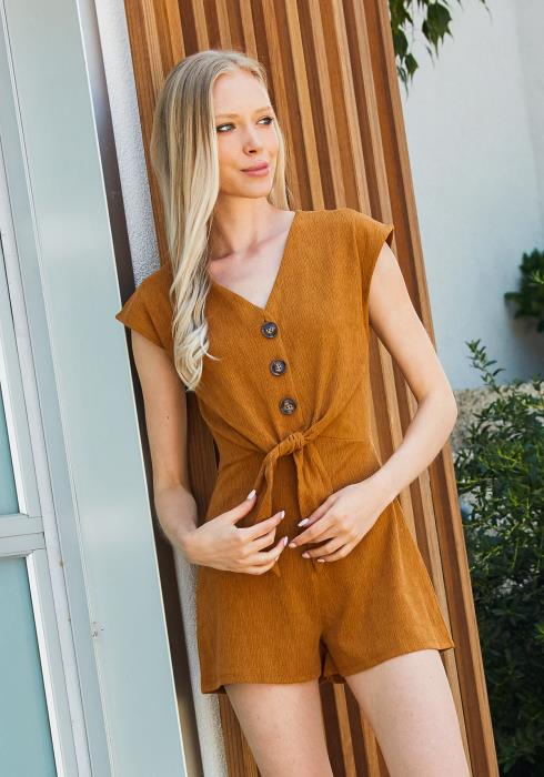 Tansy Textured Tie Front Romper