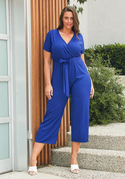 Asoph Plus Size Textured Wrap Jumpsuit