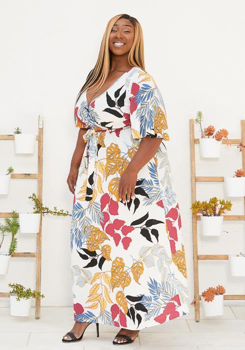 Asoph Plus Size Empire Wrap Dress