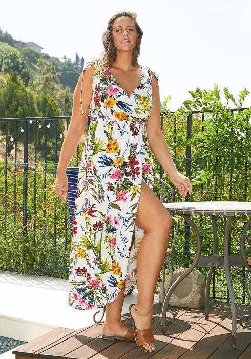 Asoph Plus Size Floral Wrap Dress
