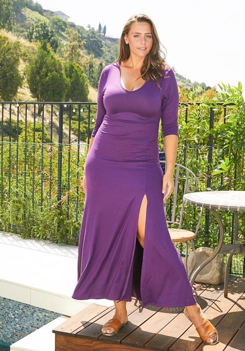 Asoph Plus Size Slit Hem Maxi Dress