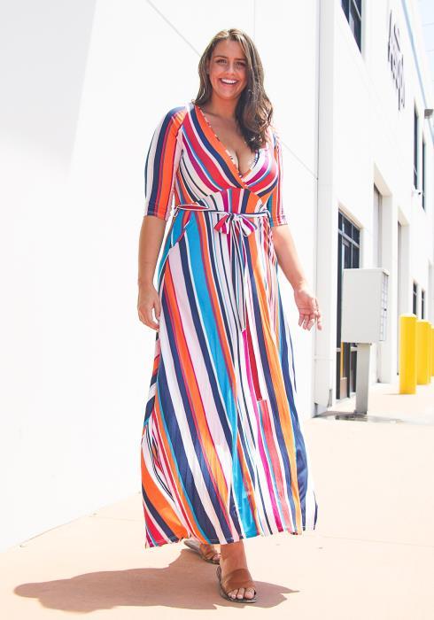 Asoph Plus Size Multi Stripe Dress