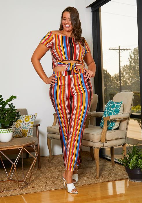 Asoph Pus Size Multi Color Top & Pants Set