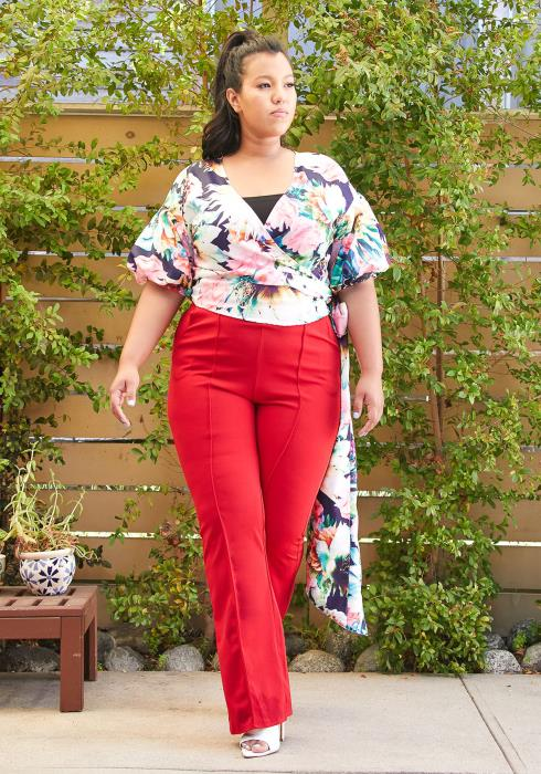 Asoph Plus Size High Waisted Flared Pants