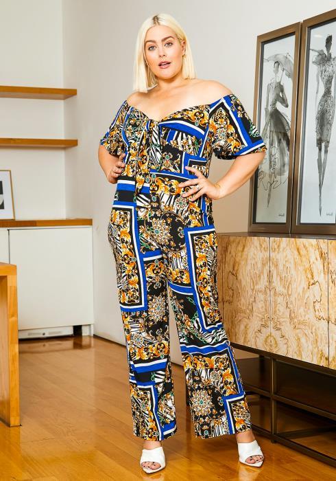 Asoph Plus Size Royalty Printed Off Shoulder Womens Jumpsuit