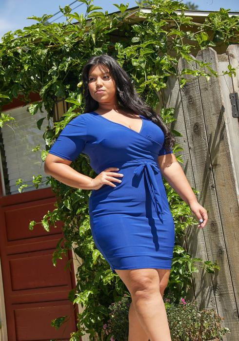 Asoph Plus Size Tie Waist Bodycon Dress