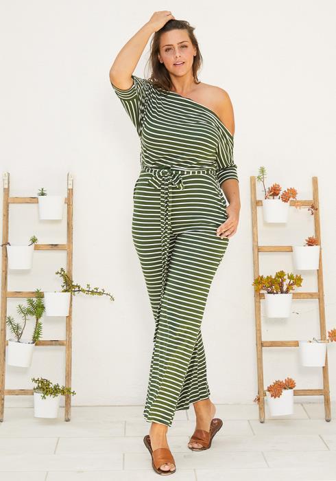 Asoph Plus Size One Shoulder Stripe Jumpsuit