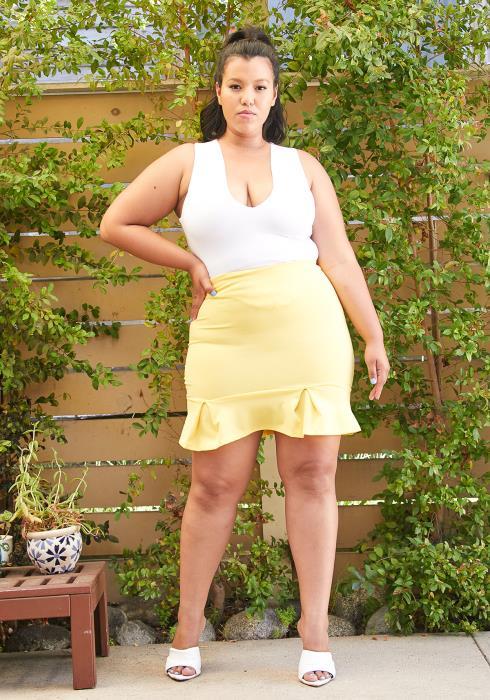 Asoph Plus Size Mermaid Mini Skirt