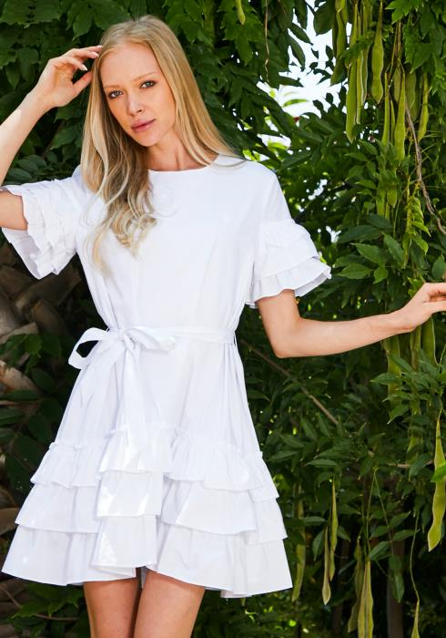 Tansy Tie Waist Ruffle White Dress