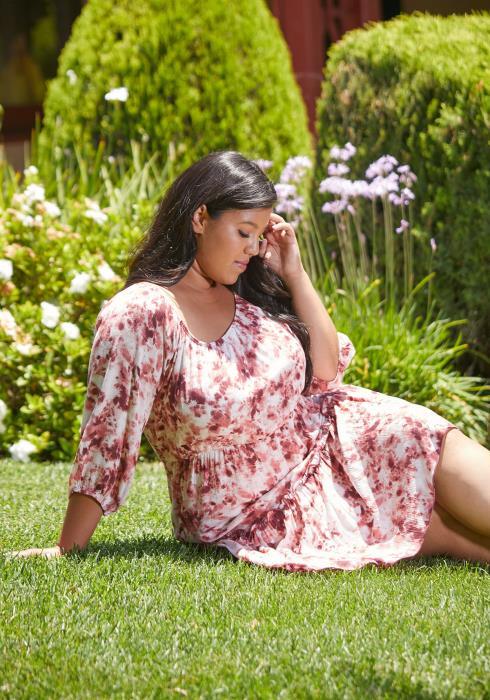 Asoph Plus Size Tie Dye Ruffle Dress