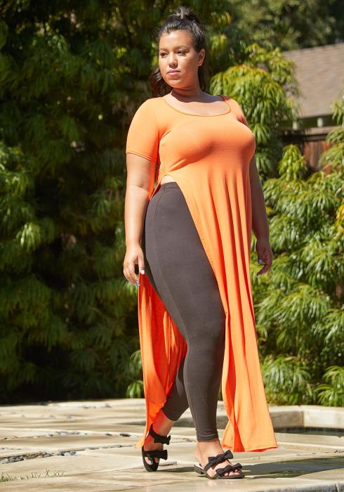 Asoph Plus Size Slit Hem Top