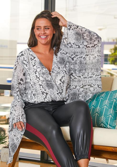 Asoph Plus Size Snake Bodysuit Blouse