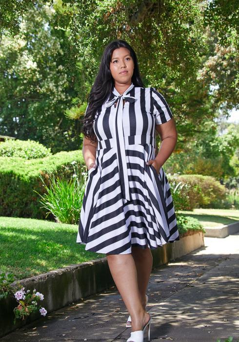 Asoph Plus Size Stripe Dress