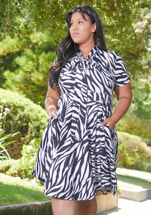 Asoph Plus Size Zebra Tie Flared Dress