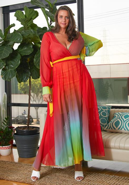 Asoph Plus Size Color Gradient Maxi Dress
